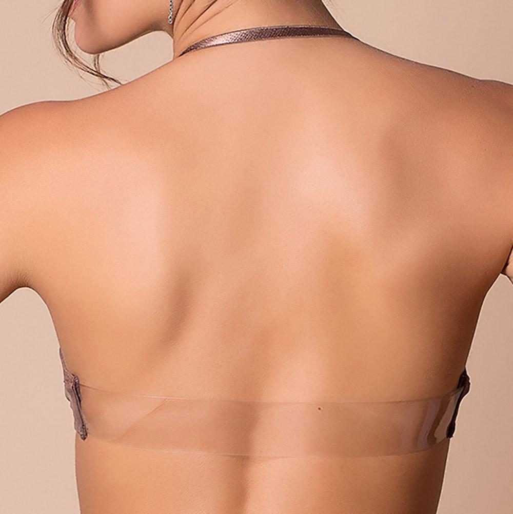 Soutien com alças duplas transparência com silicone nas costas
