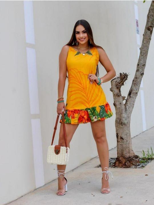 Vestido Curto Barra Flores