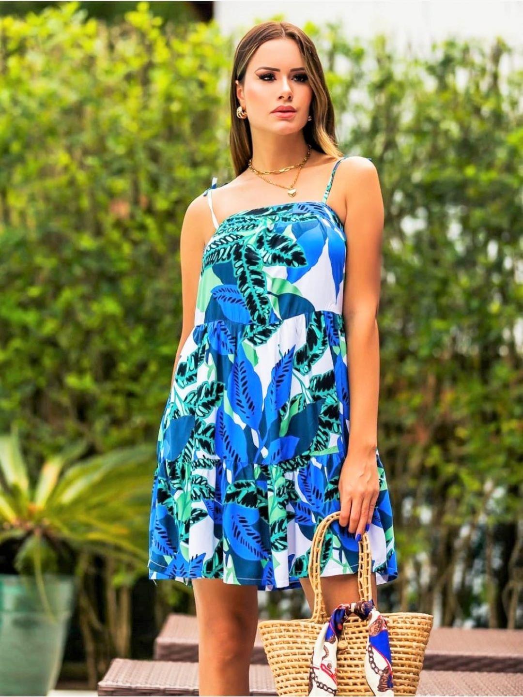 Vestido Curto Azul Tropical