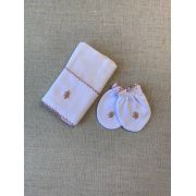 Kit paninho de boca e luvinhas bordado em rosê