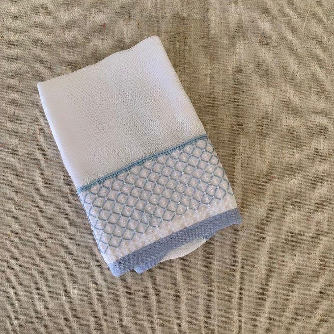 Babinha ( paninho de boca)  bordado azul claro
