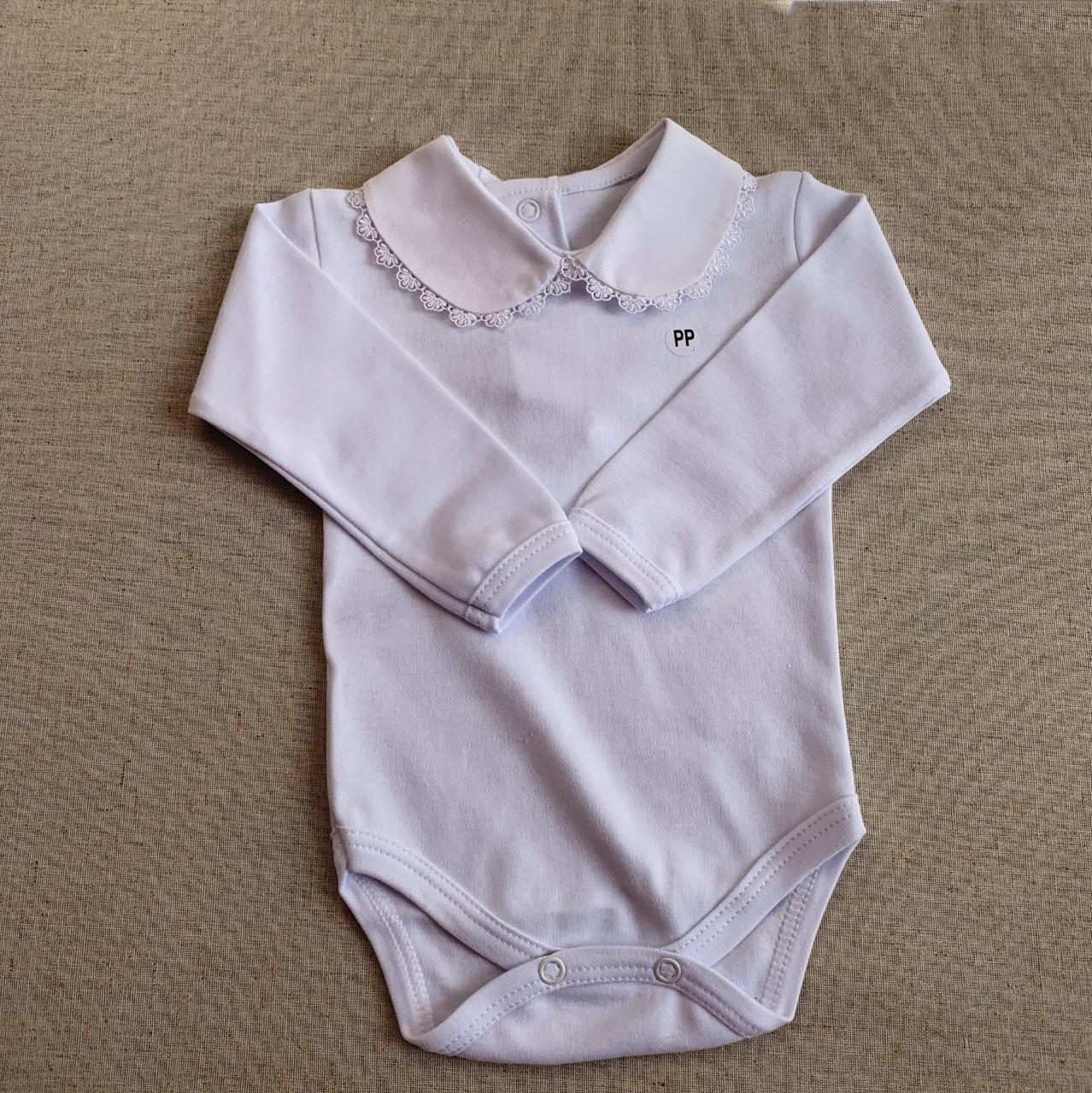 body golinha tecido  com acabamento rendado em branco