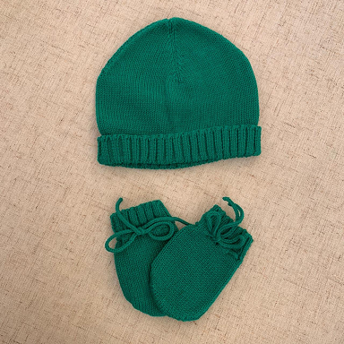 KIt touca e luvas verde