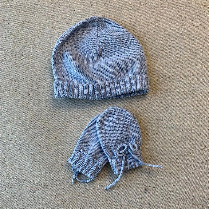 Kit touca e luvinha Azul bebê