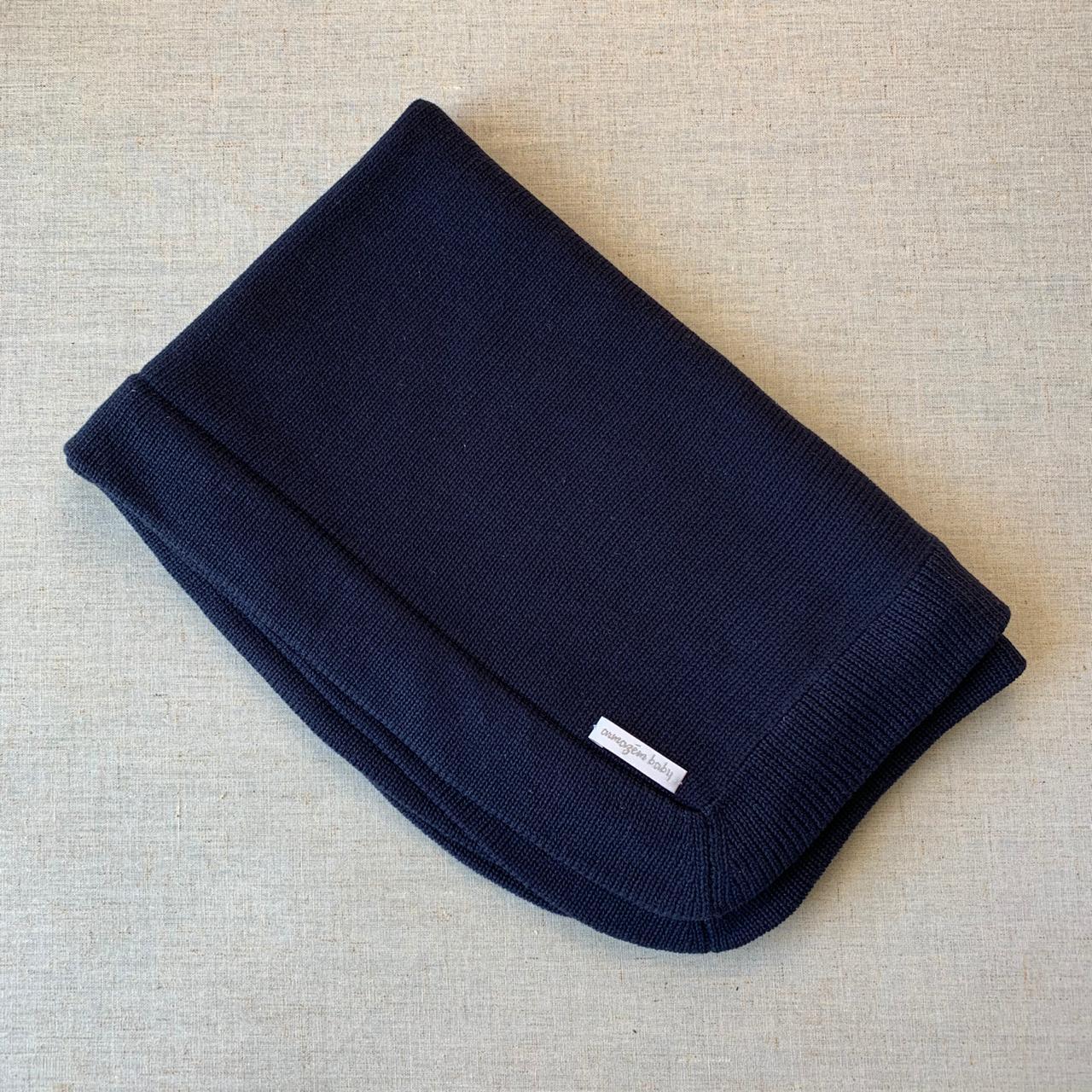 Manta tricot azul marinho