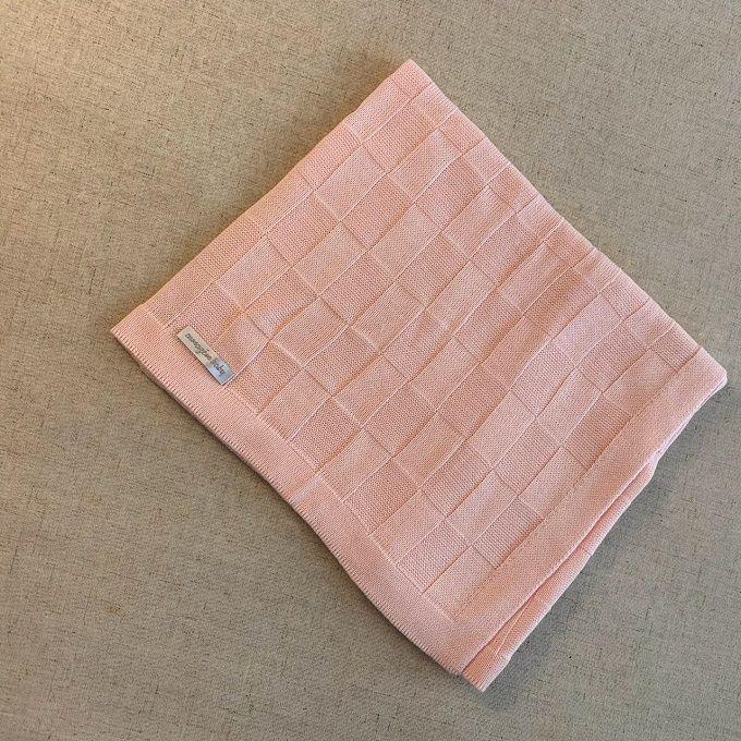 Manta tricot rosa