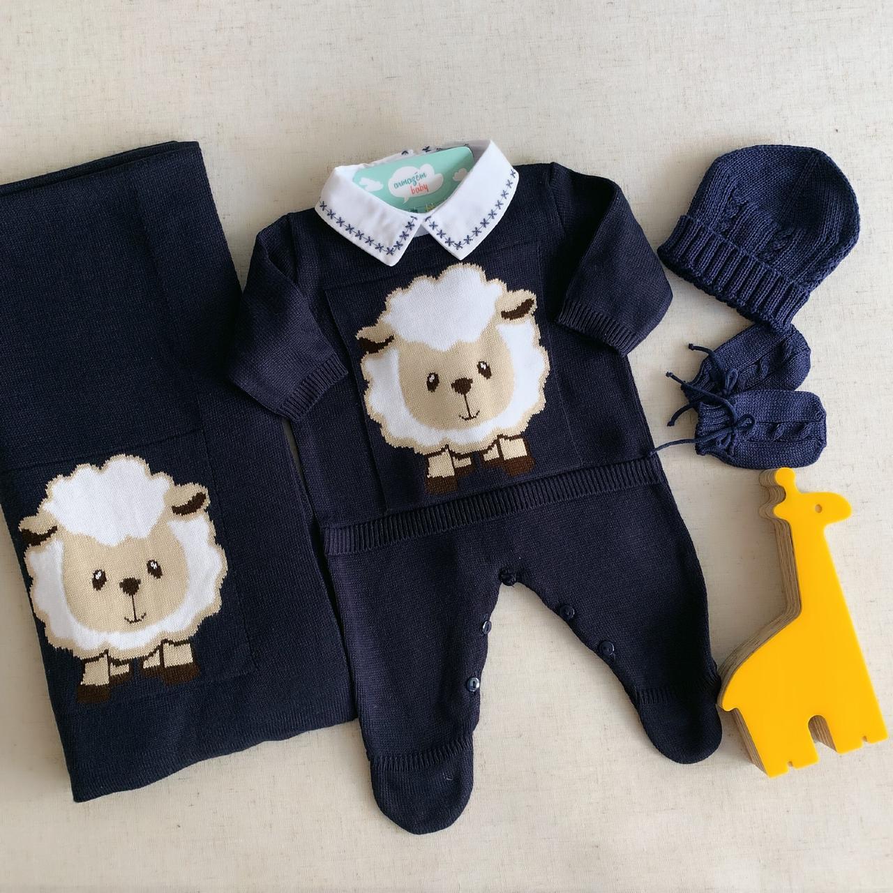Saída Maternidade Ovelha Azul Marinho