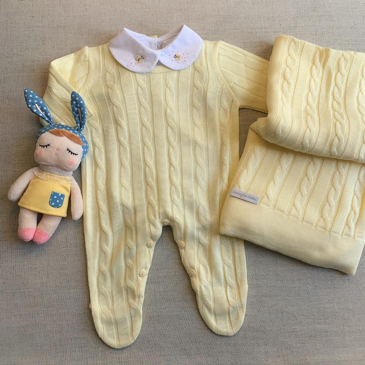 Saída Maternidade tranças amarelo