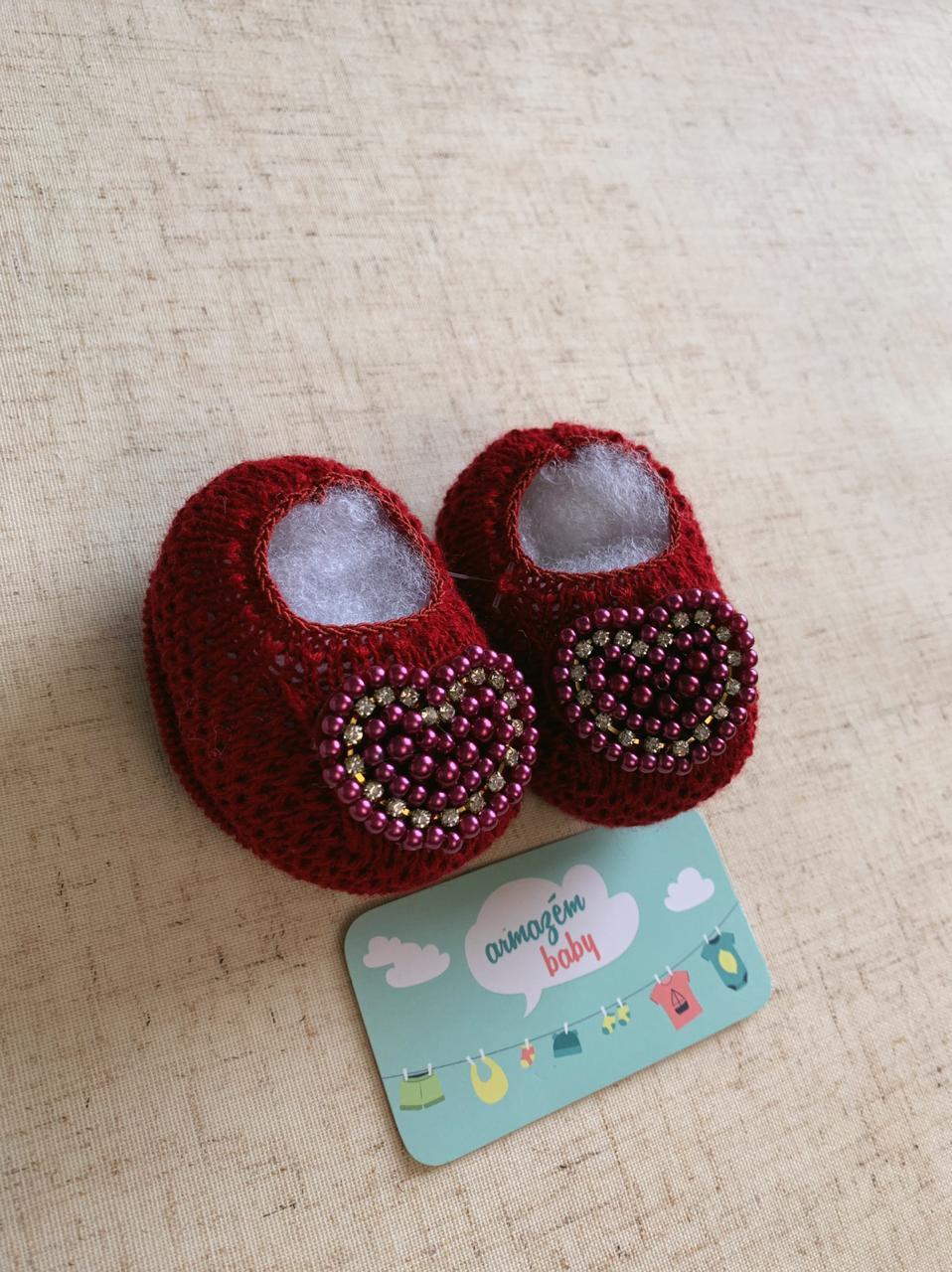 Sapatinho tricot Coração Vermelho