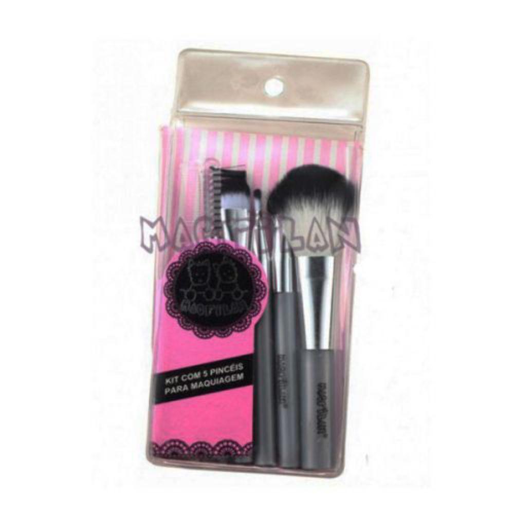 Kit de Pincéis para Maquiagem com 5 Pincéis KP5-16 Macrilan - Ideal p/ Carregar na Bolsa