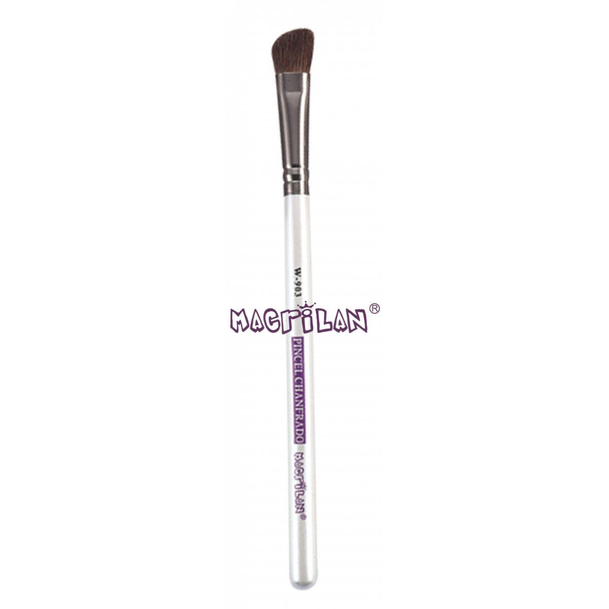 Pincel Macrilan Chanfrado W903 - Maquiagem Profissional com Cerdas Naturais
