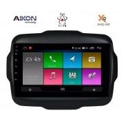 Central Multimidia Aikon Atom  Jeep Renegade Tela 9 Polegadas - GPS Bluetooth MP3 USB - Câmera de Ré - Sistema Android 10.0