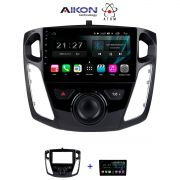 Central Multimidia Ford Focus  2014 / 2015 - Aikon Atom Tela 9 Polegadas - TV Digital FULL HD - GPS Bluetooth MP3 USB - 2 Câmera de Ré + Frontal - Sistema Android 8.1