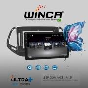 Central Multimidia Jeep Compass Winca ULTRA+ tela 9 polegadas QLED LCD SCREEN Processados Octacore 32Bg CarPlay, 2 Cameras Ré e Frontal, Waze, Youtube - Android 10.0