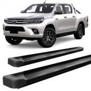 Estribo Lateral HILUX 2016 á 2021 SRV SRX SR STR Plataforma - Alumínio Preto - Cabine Dupla