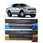 Jogo Soleira Premium Elegance Ford Ranger 2012 - 2021  - 4 Portas - Vinil + Resinada 8 Peças