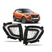 Kit Farol de Milha Neblina Hyundai Creta 2020 - Acompanha lampadas LED + Luz Diurna DRL
