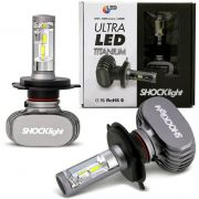 Kit Lampada Led Automotiva Ultra Led Shock Light TITANIUM Encaixe H4