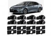 Sensor de Estacionamento Ré 8 pontos - Corolla 2020 2021 embutido - 4 sensores na Dianteira 4 sensores Traseira