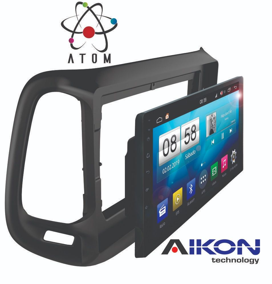 Central Multimidia Aikon Atom  Jeep Renegade Tela 9 Polegadas - TV Digital FULL HD - GPS Bluetooth MP3 USB - 2 Câmera de Ré + Frontal - Sistema Android 8.1