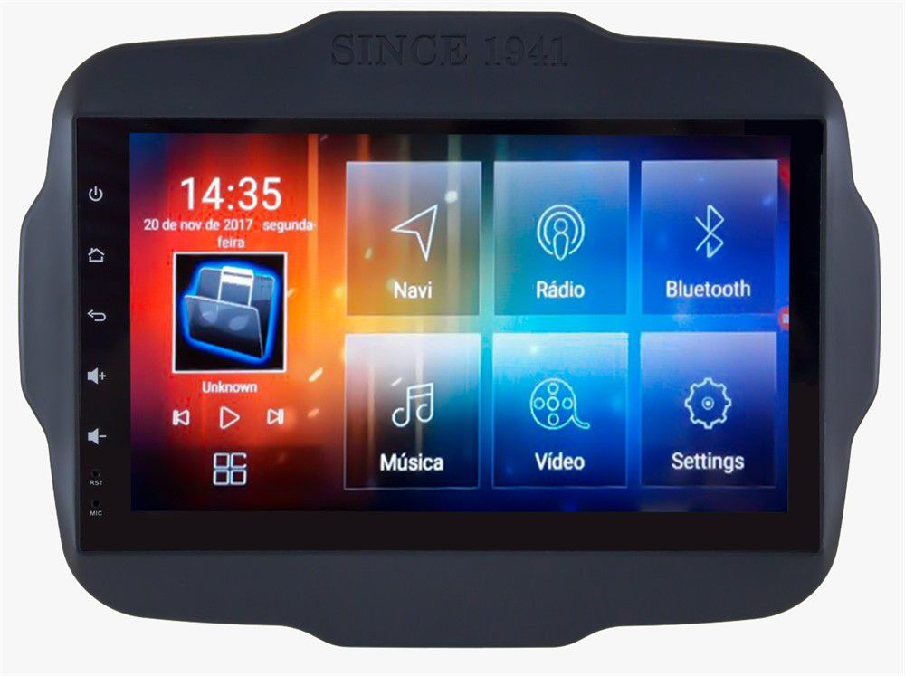 Central Multimidia Aikon  Jeep Renegade PCD -  8.8 Tela 9 Polegadas - TV Digital FULL HD - GPS Mapa Bluetooth MP3 USB Ipod SD   Card Câmera de Ré - Sistema Android