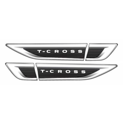 Emblema Resinado Aplique Lateral Para-lama Vw Tcross (Par)