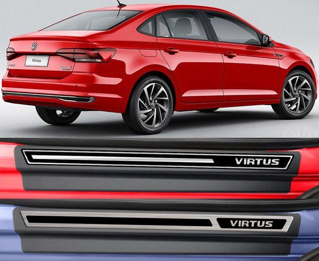 Jogo Soleira Premium Elegance Volkswagem Virtus  - 4 Portas - Vinil + Resinada 8 Peças