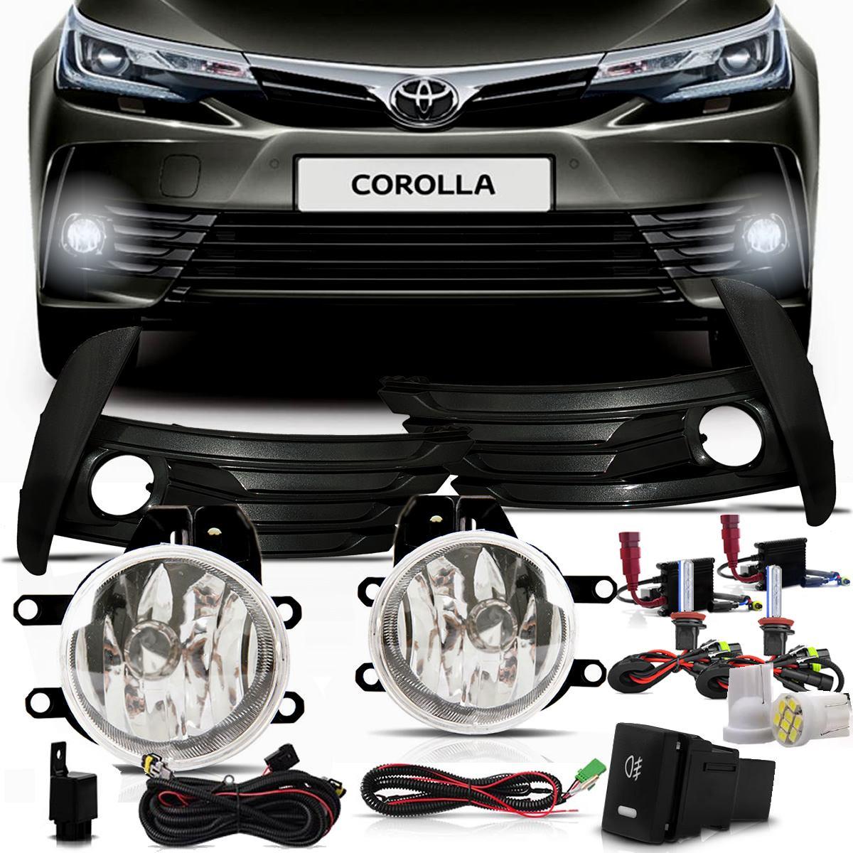 Kit Farol de Milha Neblina Toyota Corolla 2017a 2019 + Molduras Grafite