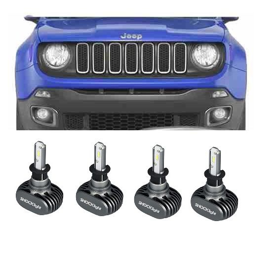 KIT LAMPADAS JEEP RENEGADE - LED ULTRA SHOCK LIGHT TITANIUM 4.000 LUMES (CADA) - 6000K - 3 KITS LUZ - FAROL ALTO BAIXO + DRL + MILHA