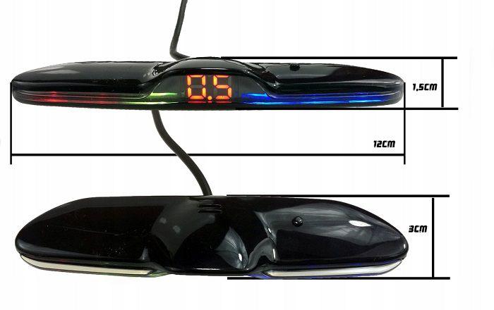 Sensor de Estacionamento Ré - 4 Sensores - Sonoro Com Display Slim - Visor em LED - Preto / Prata / Branco