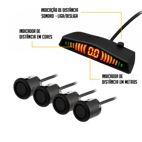 Sensor de Estacionamento Ré FIAT TORO  4 Sensores - Sonoro Com Display Slim - Visor em LED -PRETO FOSCO