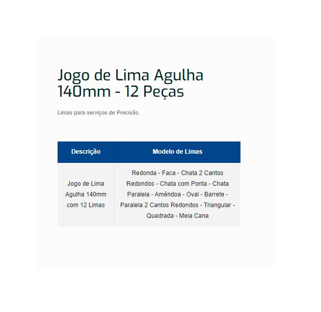 Jogo De Lima Agulha 140mm C/ 12 Peças Rocast