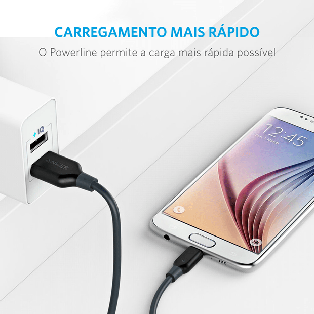 Cabo Anker Powerline Micro USB Android | 1,8 metros Cinza Cod. 11132064