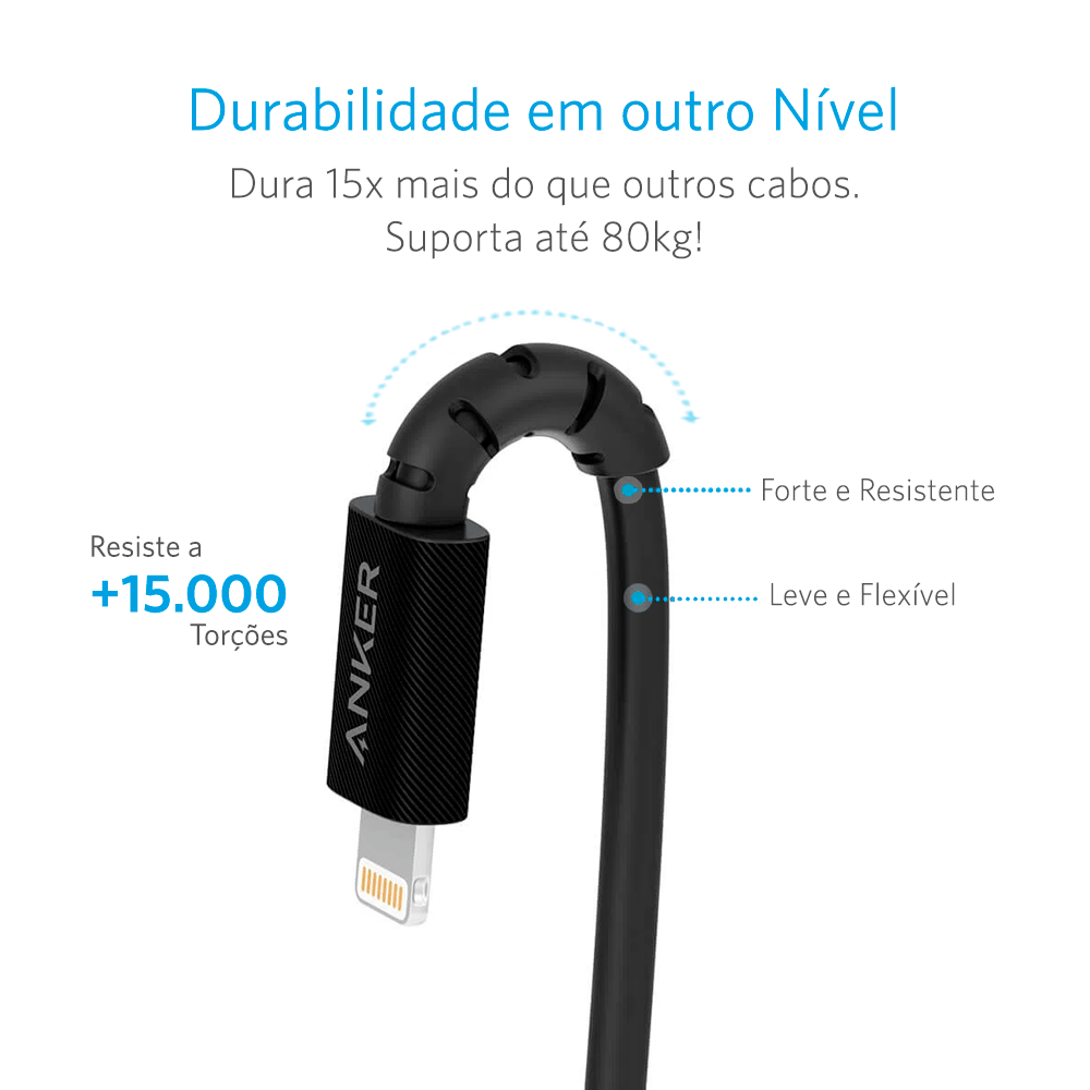 Cabo Anker PowerLine Select USB-C para Lightning | 0,9 metros Preto Cod. 11146580