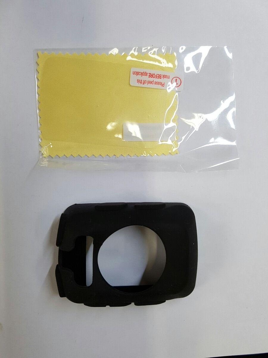 Capa Silicone Preta + Película Para Garmin Edge 520