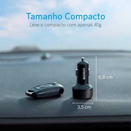 Carregador Veicular Anker PowerDrive 2 com 1 USB-C PD + 1 USB-A Cod. 11144308