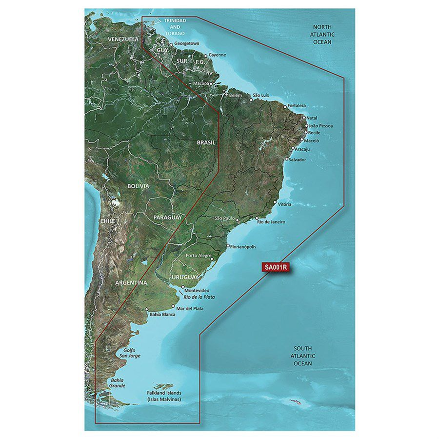 Carta Nautica GARMIN BLUECHART® G3 HD Costa leste da America do Sul 010-C1062-20