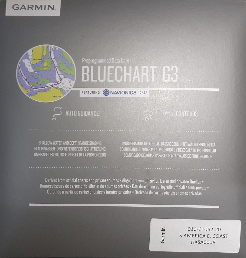 Carta Nautica GARMIN BLUECHART® G3 HD Costa leste da America do Sul 010-C1062-20