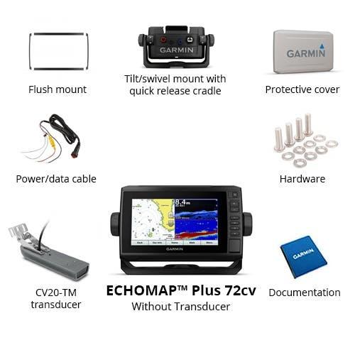 Gps Sonar Garmin Echomap 72cv Plus com Transdutor GT20-TM  e Carta Nautica 010-01892-01