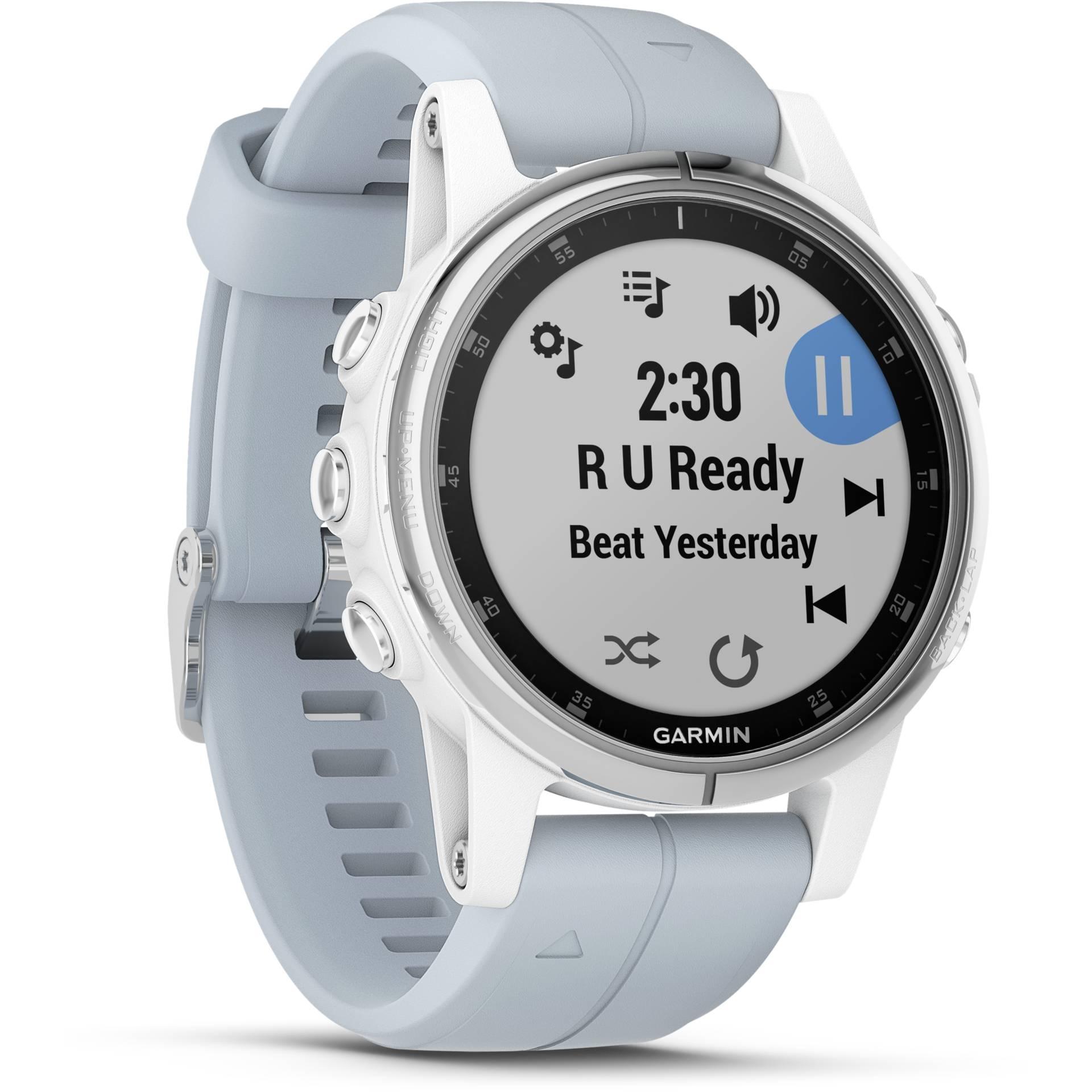 GPS Garmin Fenix 5s Plus Branco com Pulseira Azul Tela Safira 010-01987-22