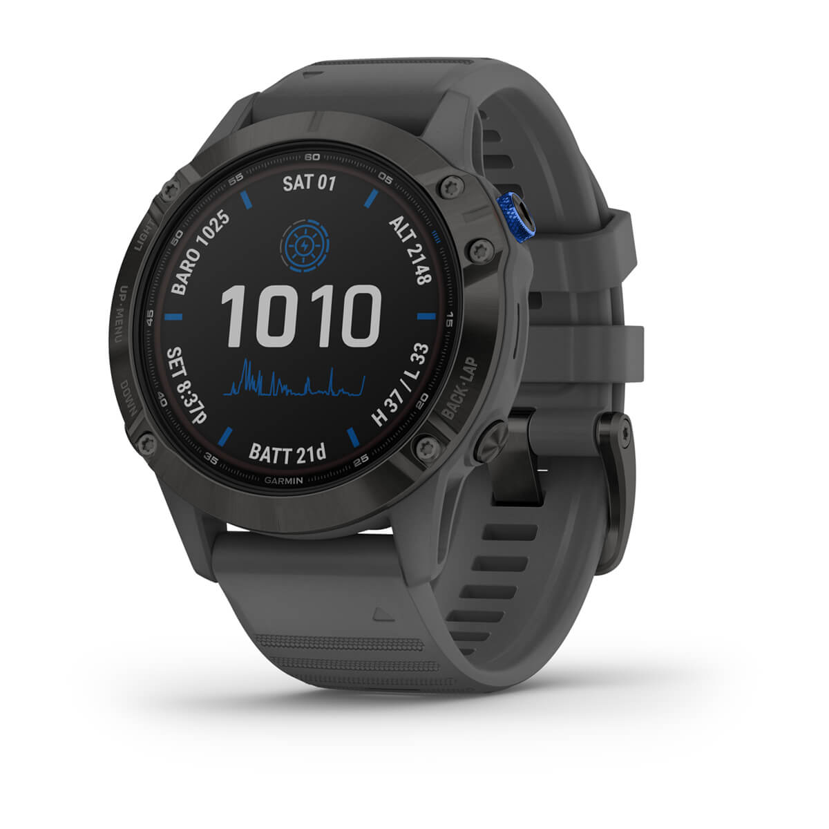 Smartwatch Gps Garmin  Fenix 6 Pro Solar Power Glass Preto com Pulseira Cinza 010-02410-13
