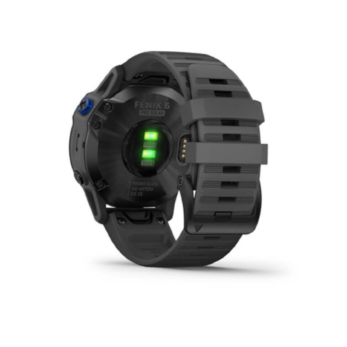 Gps Garmin Relógio Fenix 6 Pro Solar Power Glass Preto com Pulseira Cinza 010-02410-13