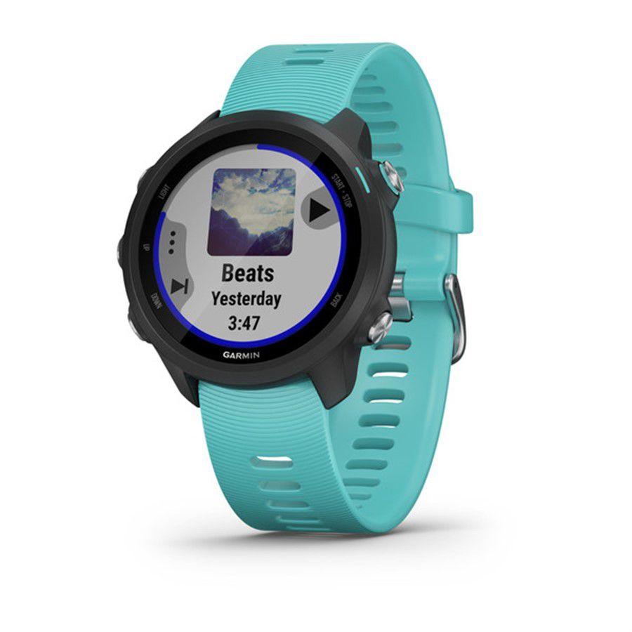 Relogio GPS Cardíaco de Pulso Garmin Forerunner 245 Music Aqua Preto 010-02120-32 Autorizada Garmin