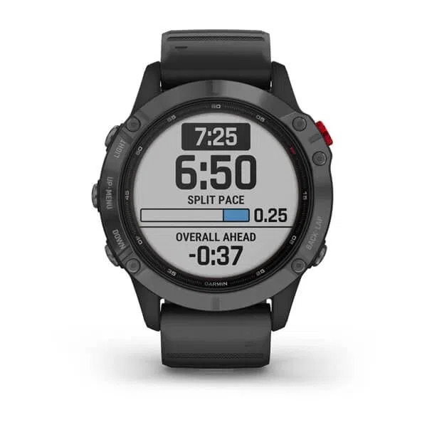 Smartwatch Gps Garmin  Fenix 6 Pro Solar Power Glass Cinza Chumbo com Pulseira Preta 010-02410-17