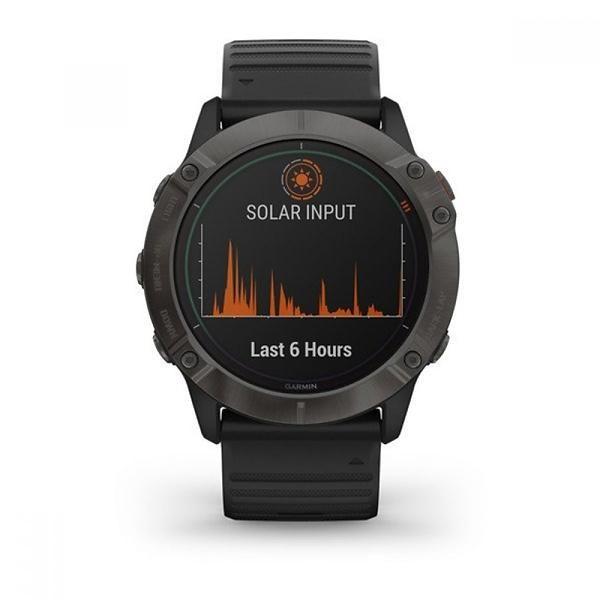 Smartwatch Gps Garmin Fenix 6x Pro Solar Titanium Cinza Carbono com Pulseira Preta 010-02157-26