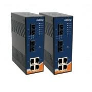 IES-2042FX-MM-SC - Switch Industrial Gerenciável Com 6 Portas 4X 10/100Tx (Rj-45) + 2X100Fx (Multi-Mode / Sc), Fonte Dupla 12~48Vdc