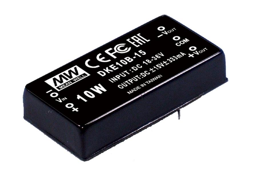 DKE10 - Conversor DC/DC Encapsulado 10Watts, Saída Dupla, Regulado e com Isolação