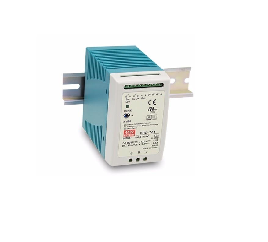 DRC-100 - Fonte de Alimentação Chaveada 100Watts com Carregador de Bateria, Função UPS, Trilho DIN