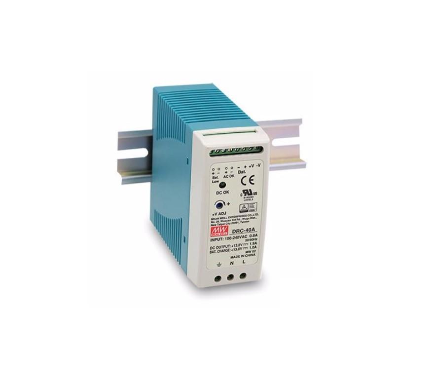 DRC-40 - Fonte de Alimentação Chaveada 40Watts com Carregador de Bateria, Função UPS, Trilho DIN