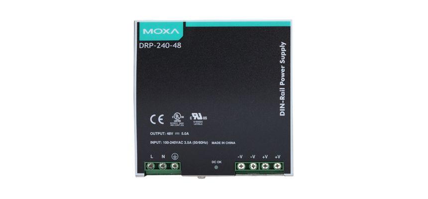 DRP-240-48 (MOXA) - Fonte De Alimentação Chaveada 240W, Entrada 85~264Vac 120~370Vdc,Saída 48Vdc 5A, Trilho Din, Temp Operação -10~70ºc